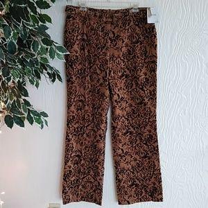 Alfani Brown patterned corduroy belted pants
